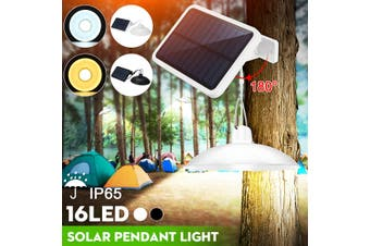 Garden Power Solar Pendant Light Decking Hanging Shed 16LED Lamp w/ Solar Panels (Single Head Black Shell White Light)
