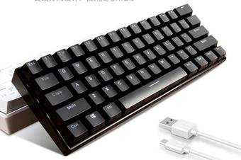 61 Keys Wired bluetooth Dual Mode 60% RGB LED Backlit Mechanical Gaming Keyboard(black,Blue Switch)