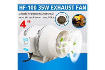 """4"""" Hydroponic Inline Exhaust Industrial Vent Silent Fan Extractor Duct Kitchen"""