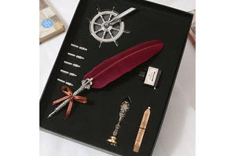 1 Set Vintage Antique Feather Quill Pen Calligraphy Writing Ink Pen School Office Stationery Gifts(red)