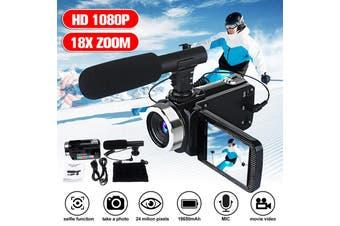 Portable Full HD 1080P 24MP 18X Zoom 3'' LCD Digital Camcorder Video Camera Mic