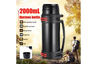 2L Stainless Steel thermos Bottle Travel Mug Flask Thermal Pot Water Insulated(black)