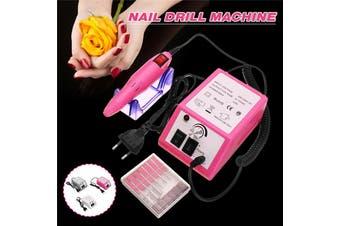 20000 RPM Electric Acrylic Nail Art File Drill Set Machine Manicure Pedicure Kit(pink)