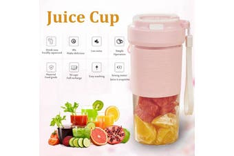 【Free Shipping】 Electric Portable Juice Blender Mini Handy USB Rechargeable Fruit Mixer Cup Juicer Cup 400ML Mini Personal Blender Kitchen Fruit Squeezer Cup (pink)