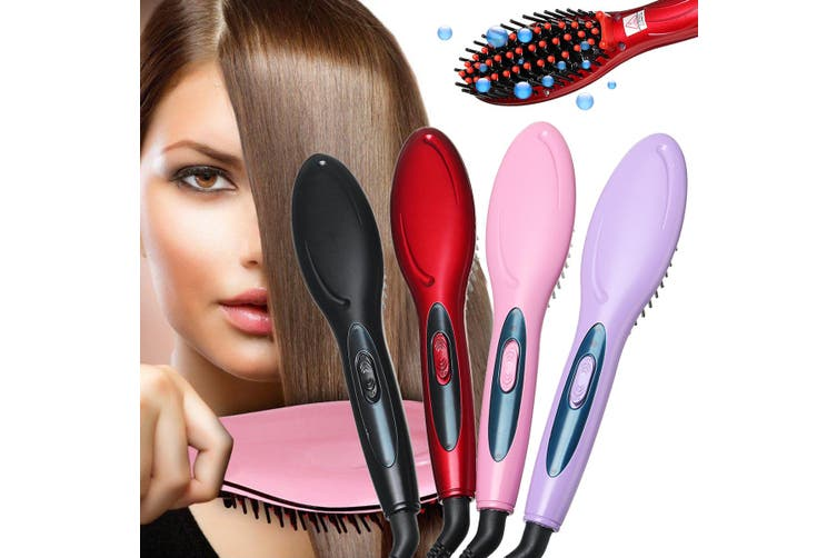 Hair Styling Appliance Hair Brush Straightening Brush Comb Hair Straightener for Women Girl Anion Electric Heating (black,US Plug)
