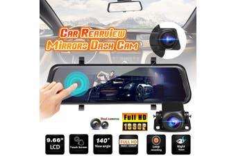 "Dual Lens10"" HD 1080P Touch Screen Car Dash DVR Rearview Mirror Video Camera 32G(9.66 inch HD 1080P retractable)"
