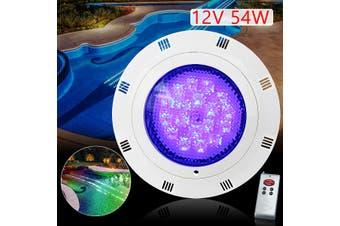 12V 54W LED Swimming Pool Light Lamp Waterproof + Remote Control 7 Colors RGB(54W 108 LED)