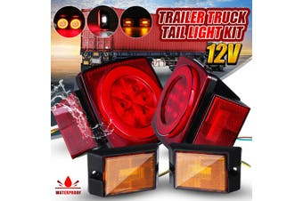 Normal/ Upgraded Submersible Square LED Trailer Light Kit Red Tail Running Stop Turn Signal Brake License Plate Light w/Side Marker for Camper Truck RV Boat Trailer (Upgraded (Low Quality))