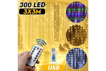 DC5V 300CM LED Wedding Fairy String Light USB Christmas Light 300 LED Fairy Light Garland for Garden Party Curtain Decoration(white,3x3M)