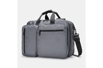 Shoulder bag portable Messenger computer bag large capacity multi-function men's waterproof backpack anti-theft briefcase(grey)