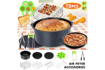 12Pcs 7Inch 8Inch Fryer Accessory Set Hot Air Fryer Hot Air Oven With Tongs(7 inches)