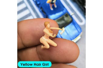 1:64 Race Medal Figures Wash Car Lovely Fat Sister Model For TOMY Matchbox Siku(Yellow Hair Girl)