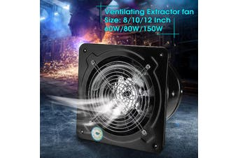 "8"" 10"" Industrial Ventilation Extractor Axial Exhaust Commercial Air Blower Fan - black"