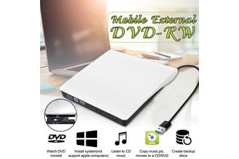 2MB Slim External USB 3.0 DVD/CD RW Writer Drive Portable ROM Drive Writer Burner for Notebook PC Desktop Computer(white)