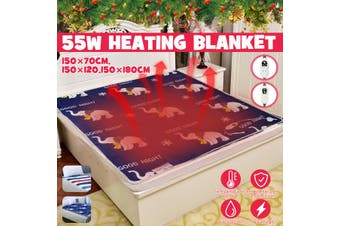 Electric Blanket Single/Double 220v Warm Heater Bed Thermostat Soft Electric Mattress Heating Blanket Warmer Heater Carpet(Elephant/150x180cm/Double Control)