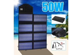 50W Waterproof Monocrystalline High Efficiency Portable Foldable Solar Panel Power Battery Charger with DC/Dual USB Charger + Crocodile Clip + Car Charger + 2X Carabiners