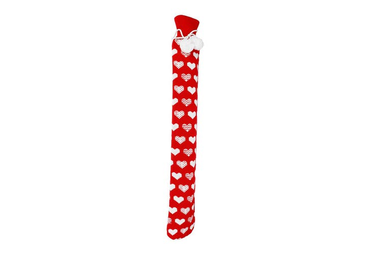 Warm PVC Extra Long Hot Water Bottles, 74cm x 12cms (Approx), Various Colours 2018 technology(Red sleeve white heart)