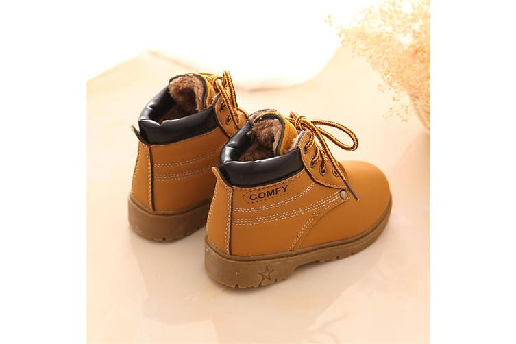 Baby Kids Boy Girl PU Leather Snow Boots Fur Lined Winter Warm Shoes(yellow,27)