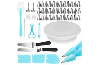 52Pcs Tool Cake Decorating Set Gift Kit Baking Supplies Turntable Spatula Stand(52 Pieces)