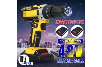 48VF Cordless Electric Drill Screw Unscrew Lithium Machine Tool 1/2 Battery Optional(yellow,with 1 PCS Li-Ion Battery)