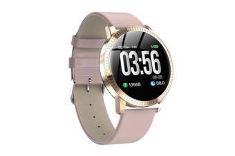 CF18 Fashion Smart Round Watch Women Bracelet Screen Clock IP67 Waterproof Men Watches Fitness Activity Tracker bluetooth Women Smartwatch Relógio Inteligente(pink,Leather Strap with Waterproof)