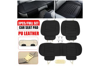 Front & Rear Car Seat Cover Breathable Bamboo Pad Mat PU Leather for Auto Chair Cushion(black,Type C)