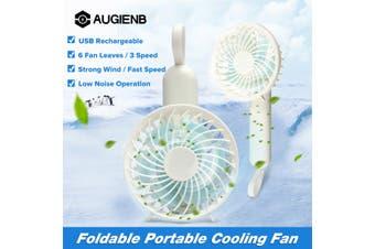 AUGIENB Handheld USB Mini Fan Portable Handheld Foldable Fan Desk Cooling USB Rechargeable 3 Speed Adjustable 6 Fan Leaves Mini Table Fan Air Cooler & Hand Held Portable(blue)