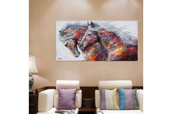 Canvas Running Horse Art Print Painting Frameless Wall Picture Poster Home Decor(L)