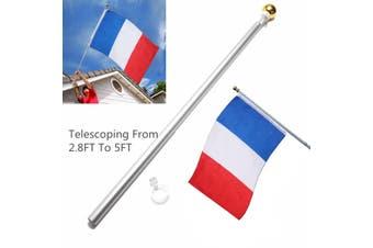 5Ft Universal Adjustable Flag Pole Aluminum Spinning Flagpole for Grommet House Flag Gold Ball Outdoor(black,just flagpole)