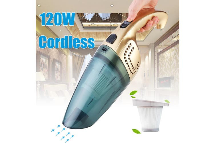 【Free Shipping + Flash Deal】120W Portable Cordless Vacuum Cleaner Rechargeable Car Home Use Dry/Wet 2600mAh(gold,Pattern A (2600mAh))