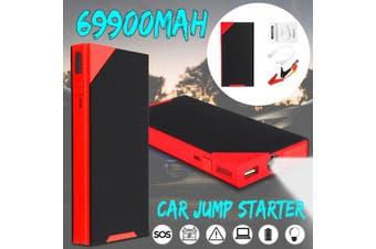 69900mAh 12V LED Car Jump Starter Battery Charger Booster Emergency Lighting Power Bank SOS Survival Kit(red,69900mAh Universal )