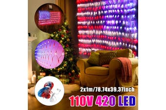 2x1m American Flag Net Light 420 LED 110V String Lights Outdoor Waterproof USA(110V 420LED American Flag Light)