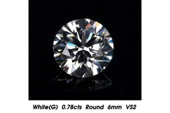 0.68cts VVS1 6mm White Natural Diamond Cut G Color Round Shape Brilliant