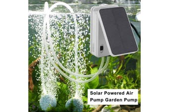Portable Solar Oxygen Pump USB Charging Double Outlets Air Bubble Stone Oxygen Pump Air Pump 3V 0.5W Aquarium Outdoor Fishing Tools with Air Pipe