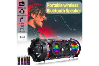 LED bluetooth Speaker Wireless Stereo Loud Bass Subwoofer Aux TF Outdoor USB FM(black)