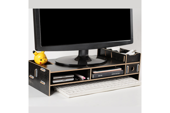 New Computer Screen Desktop Stand Wooden Monitor Laptop TV Riser Pockets Holder(black)
