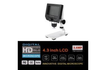 "【Upgrade Version】MUSTOOL 1080P Digital Microscope Video Record 4.3"" HD LCD 8 LED 3.6MP CCD 1-600X Magnifier with Aluminum Alloy Stand(black,Metal Stent)"