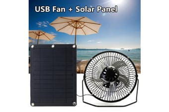 8inch USB Iron Fan For 5W Powered Solar Panel Outdoor Home Cooling Camping Laptop(The Fan)