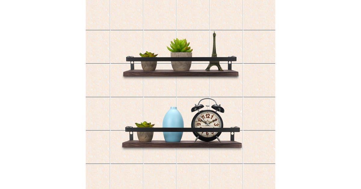 zakarriey 2pcs rustic wood floating shelves wall mounted storage kitchen bathroom shelfblack2pcs zxjrhp2slhop