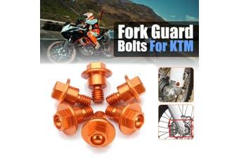 6Pcs Aluminum Motorbike Fork Guard Bolts Kit For KTM 65SX 85SX 2003-2015 KTM125-530 2000-2016 Blue/ Orange(orange)
