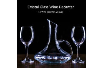 Crystal Glass Lead-free Wine Decanter Carafe Wine Pourer Container with 2 Cups(wine decanter and 2 cups)