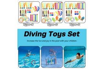 Type B/C/D Diving Toys Set Underwater Sinking Swimming Pool Games Ring Fish Stick For Kids