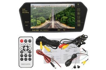 7''TFT LCD Bluetooth Car Rear View Parking Mirror Monitor + Reversing Camera New(black)