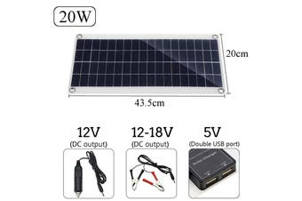 【Free Shipping + Flash Deal】 Double USB Interface Port 20W Solar Panel DC/USB Charging Camping Traveling (red,Solar Panel Only)