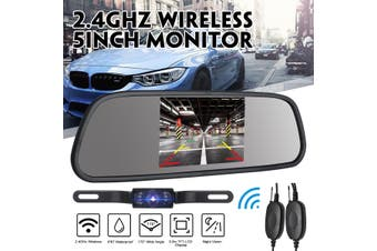 "Car Rear View 5"" LCD Monitor/Mirror Wireless Backup Camera Parking Reverse Kit(Wireless 5 Inch)"