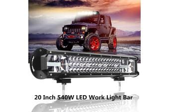 【NEW】(20inch-Universal) 540W 90led IP68 Car LED Work Light Bar Fog Light Driving Lamp Spot Flood Combo Beam 5400lm For MPV Boat Jeep Offroad Pickup ATV Roof Grille DC10-30V 6000K-WHT(white,No2)