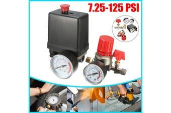 7.25-125 PSI Air Compressor Pressure Switch Control Valve Heavy Duty for Air Compressor Gauge(black,1 Set)