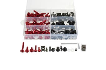 6 colors 223pcs Motorcycle Sportbike Windscreen Body Bolts Kit Fastener Clips Screws Aluminum(red)