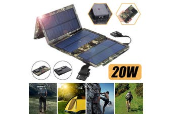 Outdoor Solar Power Charger Dual USB Mobile Phone Battery Charger Mobile Power Folding Removable Solar Panel for Traveling Camping (camouflage,10W)