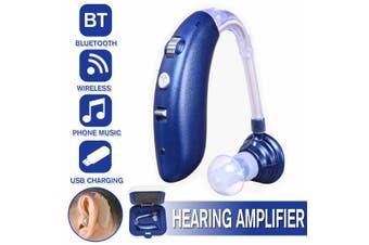 Wireless bluetooth Hearing Aid Headset Ear Aid BTE Sound USB Amplifier Digital(blue,B 1pc blue with bluetooth)